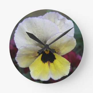 Pansy White and Yellow Wall Clock