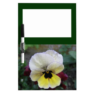 Pansy White and Yellow Wildflower Dry-Erase Board