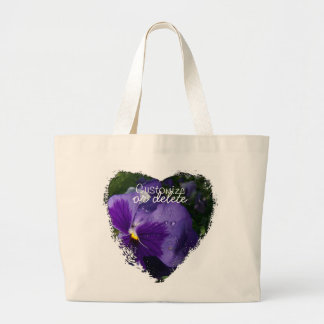 Pansy with Water Droplets; Customizable Large Tote Bag