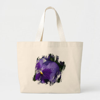 Pansy with Water Droplets Large Tote Bag