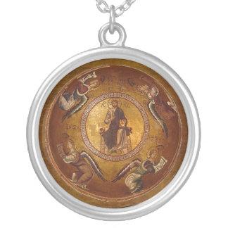 Pantakrator Christian Icon of Jesus Christ Round Pendant Necklace