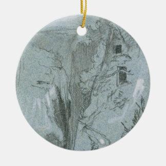 Pantalica, from 'Views of Sicily (chalk & gouache Ceramic Ornament