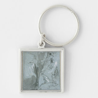 Pantalica, from 'Views of Sicily (chalk & gouache Silver-Colored Square Keychain