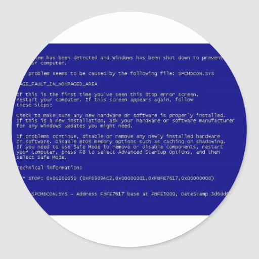 Pantalla azul de la muerte etiquetas redondas