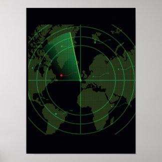 Pantalla de radar retra posters