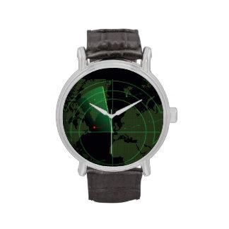 Pantalla de radar retra relojes de pulsera