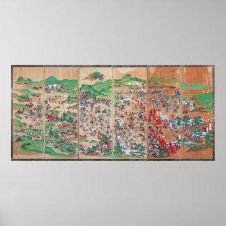 Pantalla del período de Edo de la batalla de Sekig Impresiones