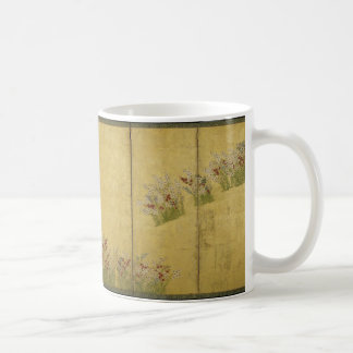 Pantalla pintada byobu japonés con las flores taza de café