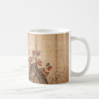 Pantalla pintada byobu japonés taza de café