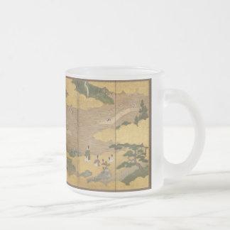 pantalla pintada japonés del byobu taza de café esmerilada