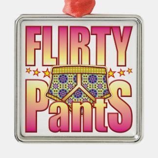 Pantalones floridos coquetos adorno cuadrado plateado