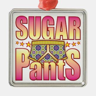Pantalones floridos del azúcar adorno cuadrado plateado