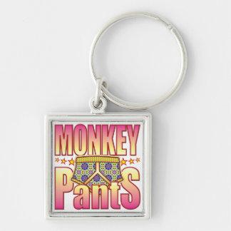 Pantalones floridos del mono llavero cuadrado plateado