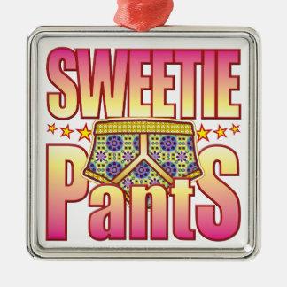 Pantalones floridos del Sweetie Adorno Cuadrado Plateado