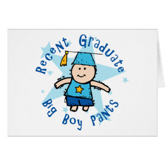 Pantalones grandes del muchacho tarjeta de felicitación