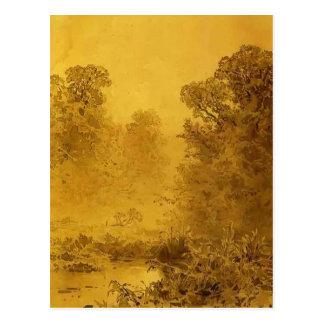 Pantano de Fyodor Vasilyev- en un bosque. Niebla Tarjetas Postales