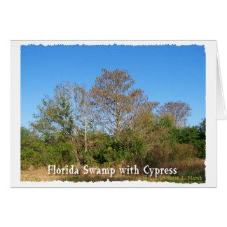 Pantano de la Florida Cypress con los cielos azule Felicitación