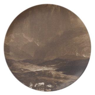 Pantano de turba, Escocia, grabada por George Clin Plato De Comida