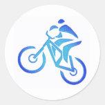 Pantano del azul de la bici pegatina redonda