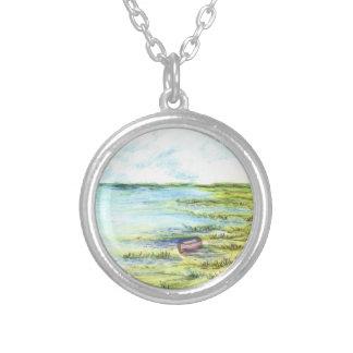 Pantano y cielo de marea - lápiz de la acuarela joyeria