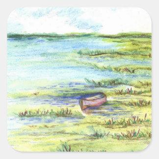 Pantano y cielo de marea - lápiz de la acuarela pegatina cuadrada