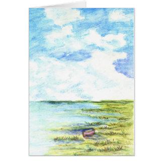 Pantano y cielo de marea - lápiz de la acuarela tarjeta de felicitación