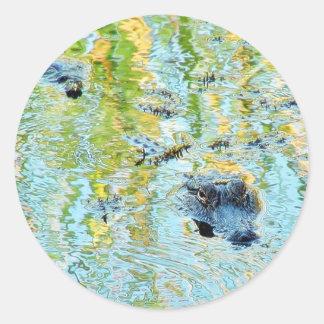 Pantanos de Aligators de los cocodrilos Pegatina Redonda