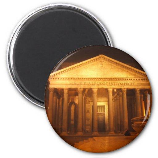 Panteón en la noche imán redondo 5 cm