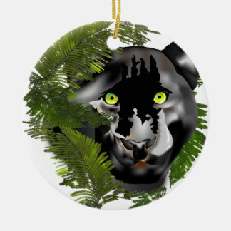 Pantera en follaje adorno navideño redondo de cerámica