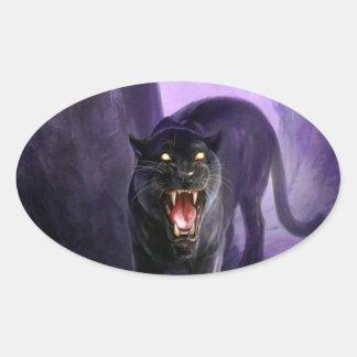 Pantera mortal animal abstracta pegatina ovalada