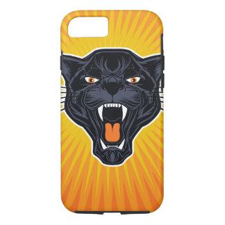 Pantera negra con el fondo retro anaranjado funda iPhone 7