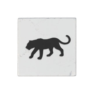 Pantera negra en blanco imán de piedra