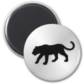 Pantera negra en la plata imán redondo 5 cm