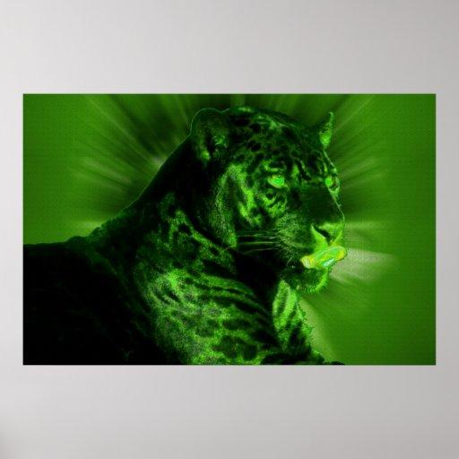 Pantera negra en verde póster