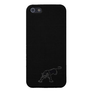 Pantera negra (esquema blanco) en negro iPhone 5 fundas
