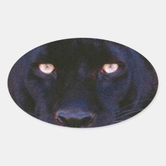 Pantera negra pegatina ovalada