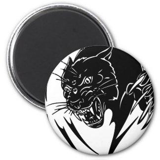 Pantera negra salvaje imán redondo 5 cm