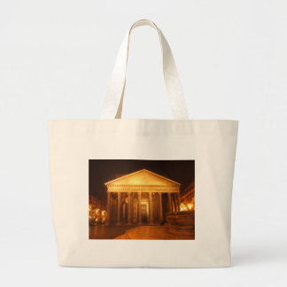 Pantheon at night large tote bag