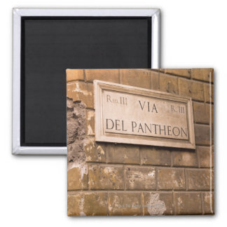Pantheon sign, Rome, Italy 2 2 Inch Square Magnet