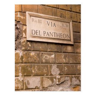 Pantheon sign, Rome, Italy 2 Postcard