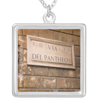 Pantheon sign, Rome, Italy 2 Square Pendant Necklace
