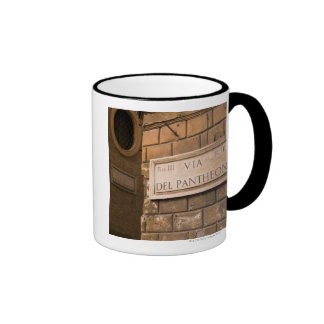 Pantheon sign, Rome, Italy Ringer Coffee Mug