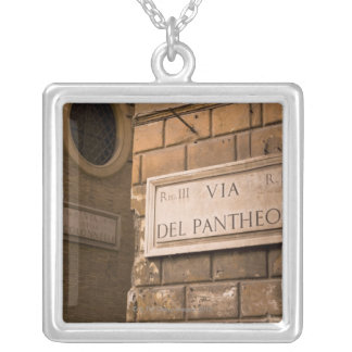 Pantheon sign, Rome, Italy Silver Plated Necklace