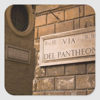 Pantheon sign, Rome, Italy Square Sticker