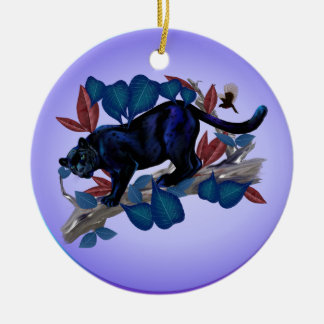 PANTHER -Alert Hunter Ceramic Ornament