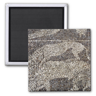 Panther attacking a bull 2 inch square magnet