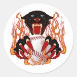 Panther-Baseball-1White-T-2 Pegatina Redonda