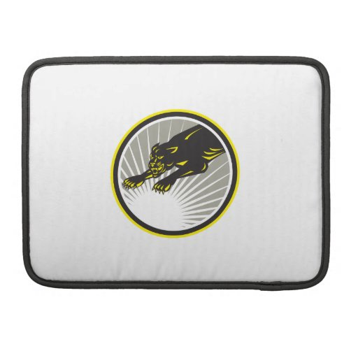 Panther Big Cat Growling Circle Sleeve For MacBooks