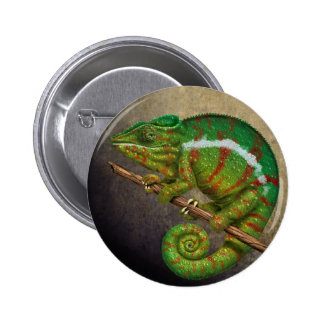 Panther Chameleon Digital Painting Button