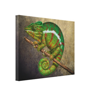 Panther Chameleon Digital Painting Canvas Print